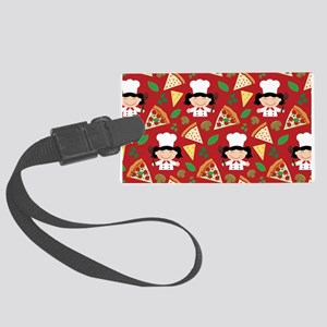 Cute Pizza Chef Girl Large Luggage Tag