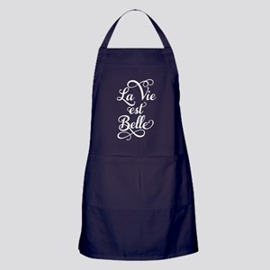 la vie est belle, white text Apron (dark)