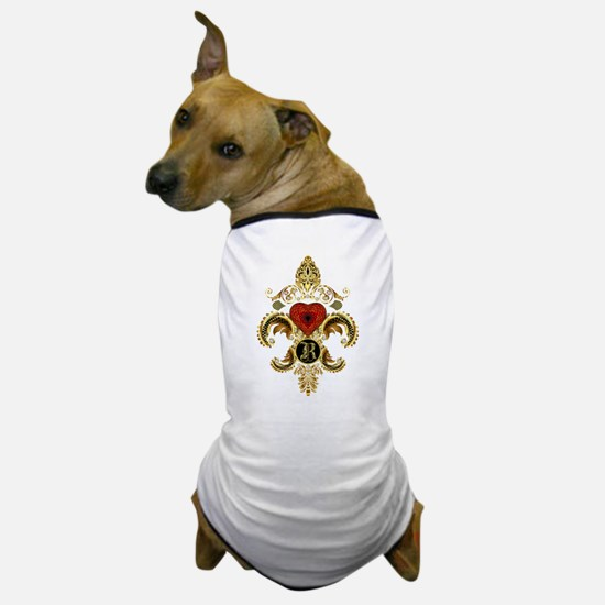 Monogram R Fleur de lis Dog T-Shirt