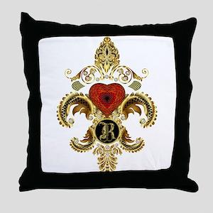 Monogram R Fleur de lis Throw Pillow