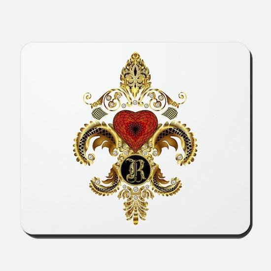 Monogram R Fleur De Lis Mousepad
