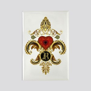 Monogram R Fleur de lis Rectangle Magnet