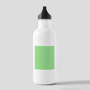 Bright Green Mermaid Fish Scales Water Bottle