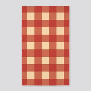 Gingham Checks Red 3'x5' Area Rug