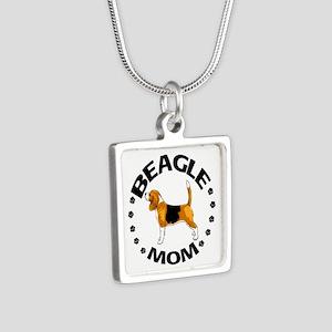Beagle Mom Silver Square Necklace