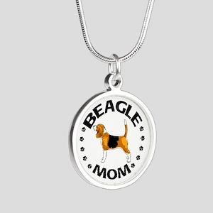 Beagle Mom Silver Round Necklace