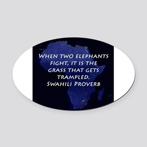 When Two Elephant Fight Oval Car Magnet