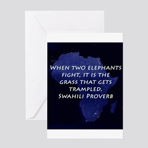 Swahili greeting cards cafepress when two elephant fight greeting cards m4hsunfo