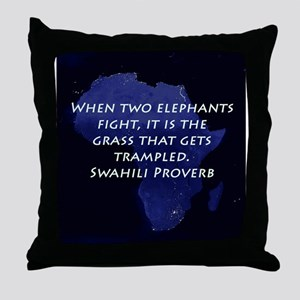 When Two Elephant Fight Throw Pillow