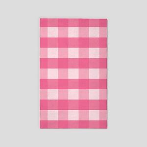 Gingham Checks Pink 3'x5' Area Rug