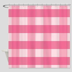 Gingham Checks Pink Shower Curtain