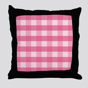 Gingham Checks Pink Throw Pillow