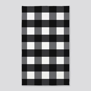 Gingham Check black white 3'x5' Area Rug