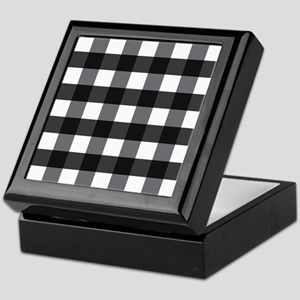 Gingham Check black white Keepsake Box