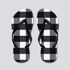 Gingham Check black white Flip Flops