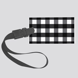 Gingham Check black white Large Luggage Tag