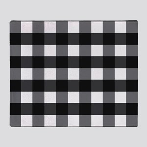 Gingham Check black white Throw Blanket