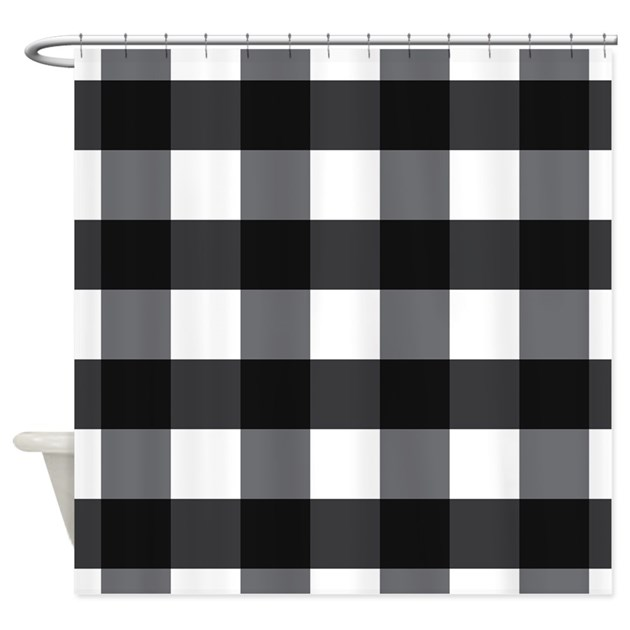 Gingham Check Black White Shower Curtain By