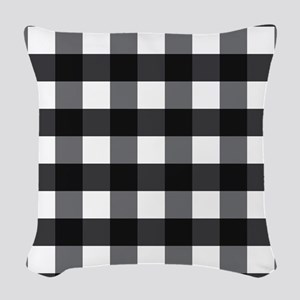 Gingham Check black white Woven Throw Pillow