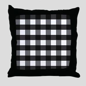 Gingham Check black white Throw Pillow