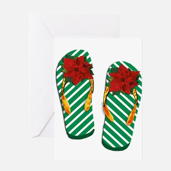 Xmas Flip Flops Greeting Cards