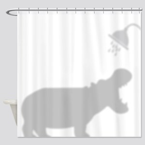 Cute Hippo In Shower Facing Right Shower Curtain