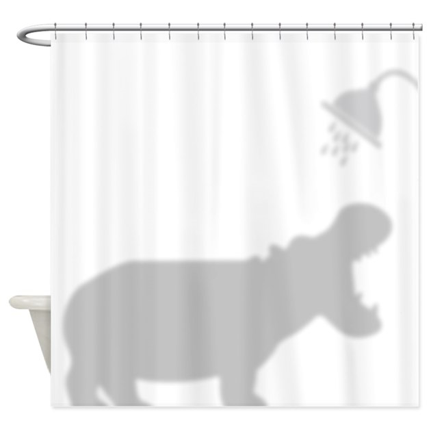 Cute Hippo In Shower Facing Right Curtain By Getyergoat