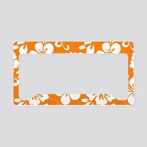 Orange Hawaiian Hibiscus License Plate Holder