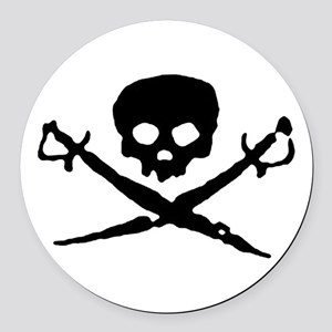 skull2-w Round Car Magnet