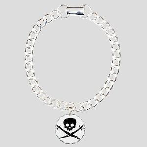 skull2-w Charm Bracelet, One Charm