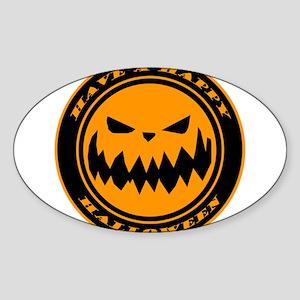 HALLOWEEN-PUMPKIN-n-w Sticker (Oval)