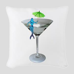 Mermaid Martini Woven Throw Pillow