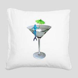 Mermaid Martini Square Canvas Pillow