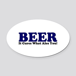 The Beer Cure Oval Car Magnet