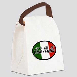 ciao-bella-OVAL2 Canvas Lunch Bag