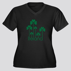 new-ireland-g Women's Plus Size V-Neck Dark T-