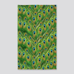 Peacock Feather Pattern 3'x5' Area Rug