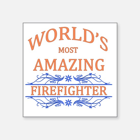 "Firefighter Square Sticker 3"" x 3"""