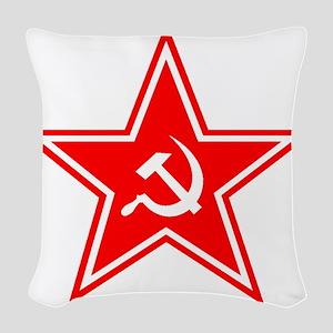 soviet-star-white-w Woven Throw Pillow