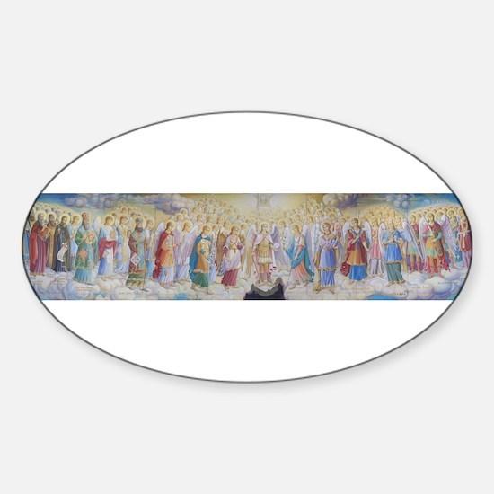Cute Ukrainian angels Sticker (Oval)