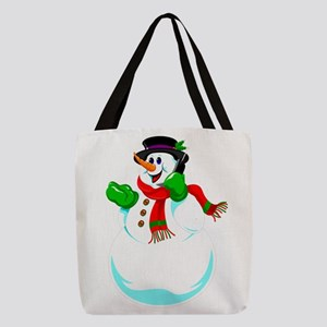 Snowman On A Cell Phone Polyester Tote Bag