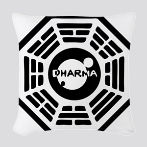 3-dharma-karma Woven Throw Pillow