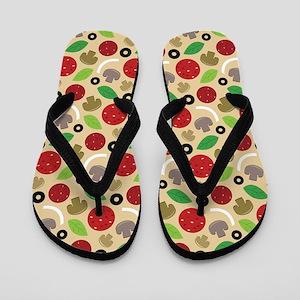 Pepperoni Pizza Fixings Flip Flops