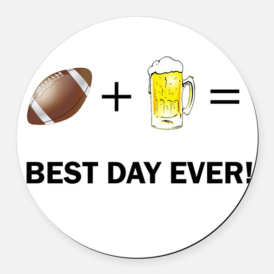 Football and Beer Round Car Magnet
