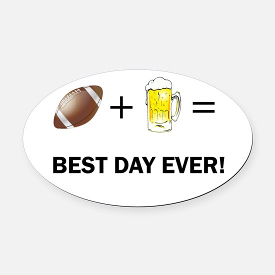 Football and Beer Oval Car Magnet