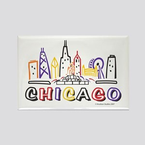 Cute Chicago Skyline Rectangle Magnet