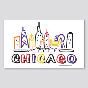 Cute Chicago Skyline Sticker (Rectangle)