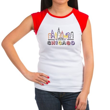Cute Chicago Skyline Women's Cap Sleeve T-Shirt