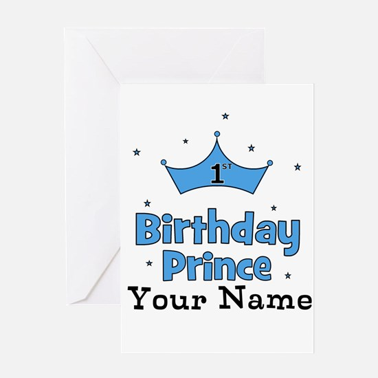 1st Birthday Prince CUSTOM Your Name Greeting Card