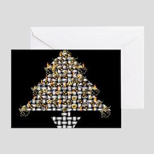 Metal Weave Skulls Tree Greeting Card